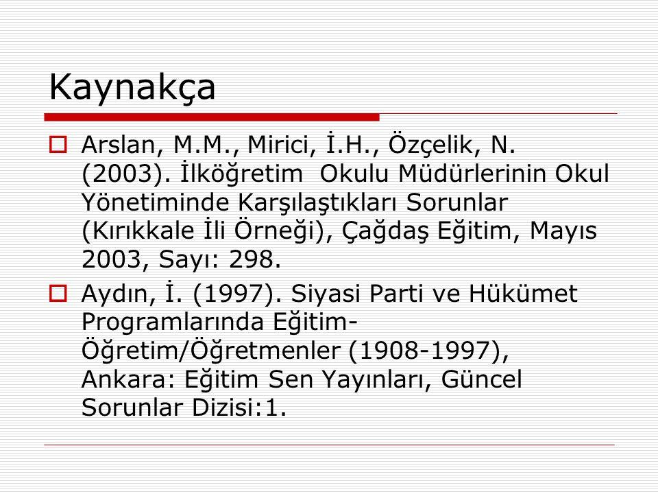 Kaynakça  Arslan, M.M., Mirici, İ.H., Özçelik, N.
