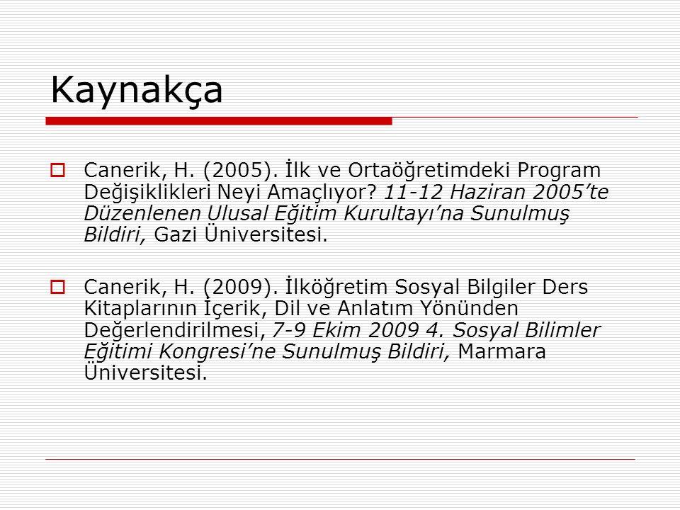 Kaynakça  Canerik, H. (2005). İlk ve Ortaöğretimdeki Program Değişiklikleri Neyi Amaçlıyor? 11-12 Haziran 2005'te Düzenlenen Ulusal Eğitim Kurultayı'