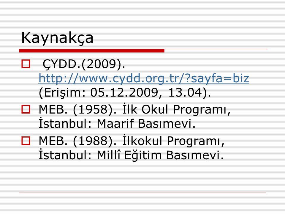 Kaynakça  ÇYDD.(2009). http://www.cydd.org.tr/?sayfa=biz (Erişim: 05.12.2009, 13.04). http://www.cydd.org.tr/?sayfa=biz  MEB. (1958). İlk Okul Progr