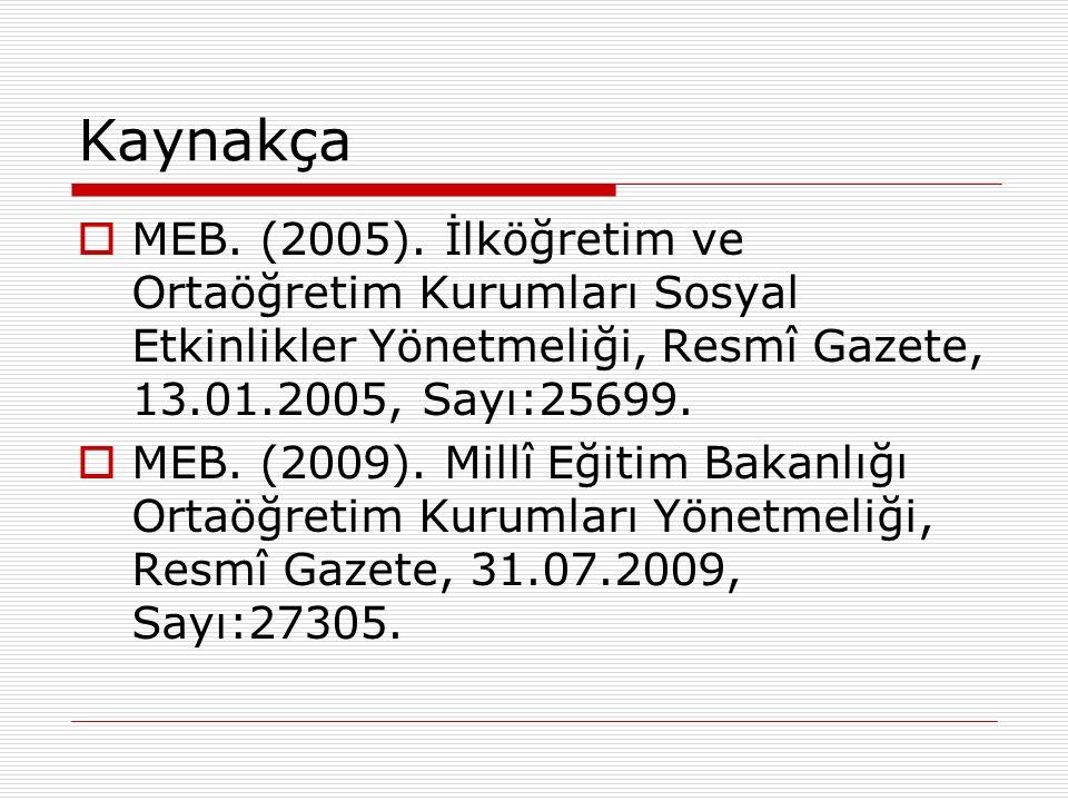 Kaynakça  MEB. (2005). İlköğretim ve Ortaöğretim Kurumları Sosyal Etkinlikler Yönetmeliği, Resmî Gazete, 13.01.2005, Sayı:25699.  MEB. (2009). Millî