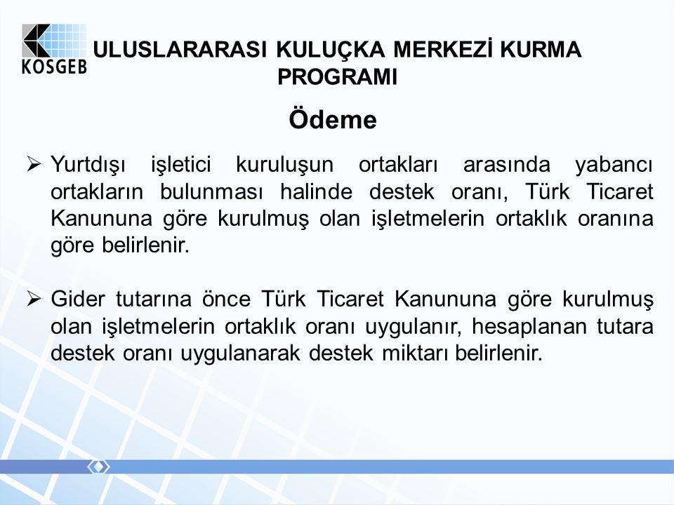 ULUSLARARASI KULUÇKA MERKEZİ KURMA PROGRAMI Ödeme  Yurtdışı işletici kuruluşun ortakları arasında yabancı ortakların bulunması halinde destek oranı, Türk Ticaret Kanununa göre kurulmuş olan işletmelerin ortaklık oranına göre belirlenir.