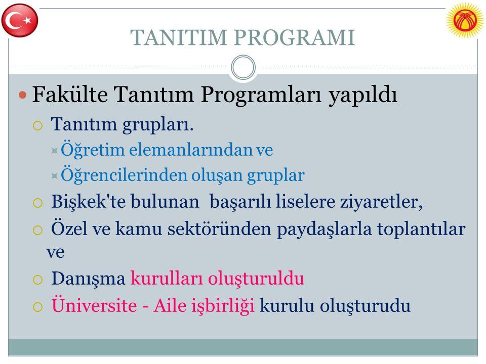 TANITIM PROGRAMI Fakülte Tanıtım Programları yapıldı  Tanıtım grupları.