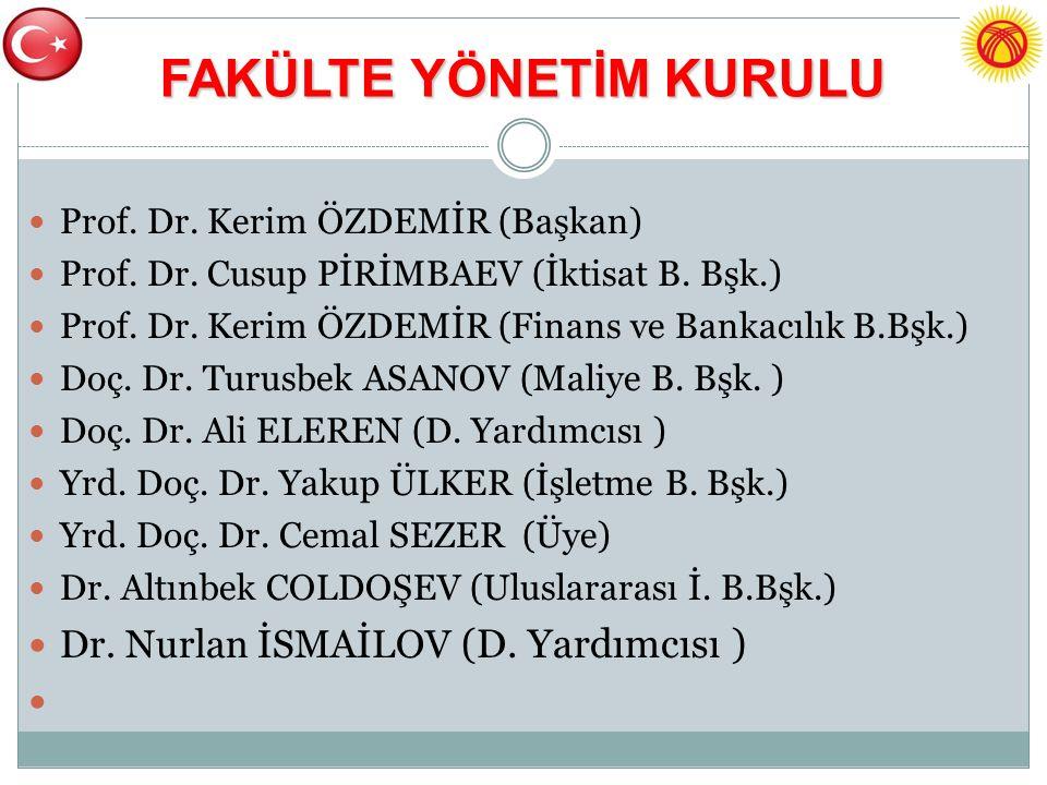 FAKÜLTE YÖNETİM KURULU Prof. Dr. Kerim ÖZDEMİR (Başkan) Prof.