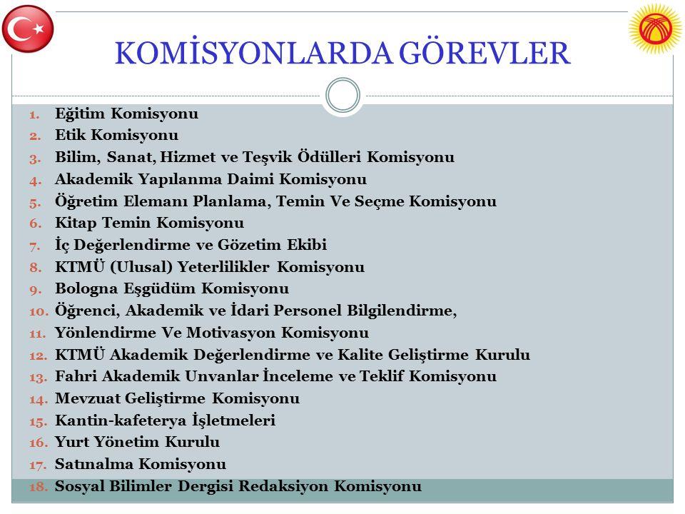 KOMİSYONLARDA GÖREVLER 1. Eğitim Komisyonu 2. Etik Komisyonu 3.