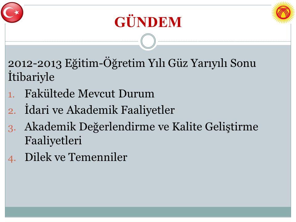 GÜNDEM 2012-2013 Eğitim-Öğretim Yılı Güz Yarıyılı Sonu İtibariyle 1.