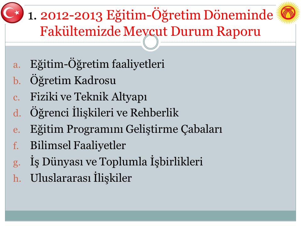 1. 2012-2013 Eğitim-Öğretim Döneminde Fakültemizde Mevcut Durum Raporu a.