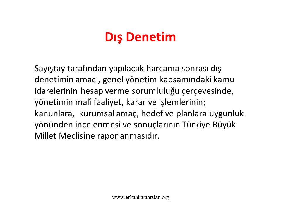Dış Denetim Sayıştay tarafından yapılacak harcama sonrası dış denetimin amacı, genel yönetim kapsamındaki kamu idarelerinin hesap verme sorumluluğu çerçevesinde, yönetimin malî faaliyet, karar ve işlemlerinin; kanunlara, kurumsal amaç, hedef ve planlara uygunluk yönünden incelenmesi ve sonuçlarının Türkiye Büyük Millet Meclisine raporlanmasıdır.