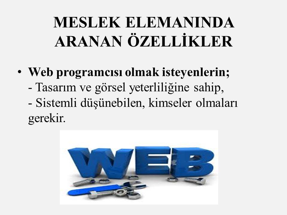 MESLEK ELEMANINDA ARANAN ÖZELLİKLER Web programcısı olmak isteyenlerin; - Tasarım ve görsel yeterliliğine sahip, - Sistemli düşünebilen, kimseler olmaları gerekir.