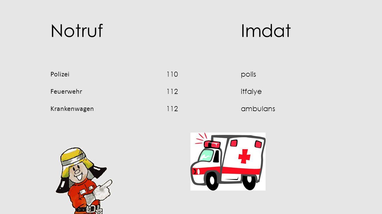 NotrufImdat Polizei Feuerwehr Krankenwagen 110 112 polis itfaiye ambulans