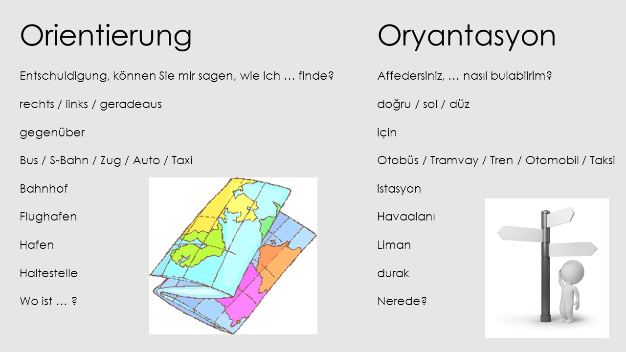 Orientierung Entschuldigung, können Sie mir sagen, wie ich … finde? rechts / links / geradeaus gegenüber Bus / S-Bahn / Zug / Auto / Taxi Bahnhof Flug