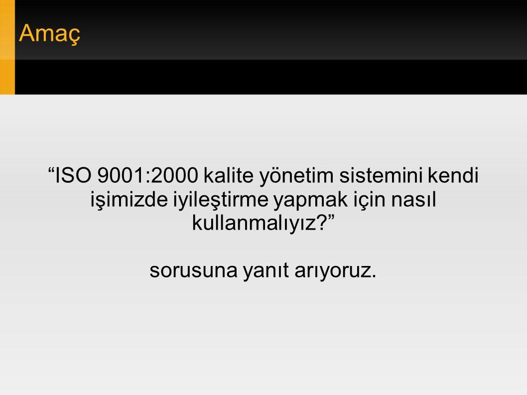 İçerik ● ISO 9001:2000 Özet ● Süreç Nedir.