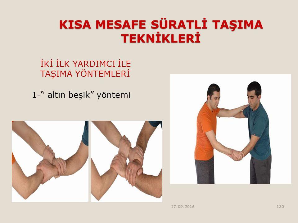 KISA MESAFE SÜRATLİ TAŞIMA TEKNİKLERİ İKİ İLK YARDIMCI İLE TAŞIMA YÖNTEMLERİ 1- altın beşik yöntemi 17.09.2016130