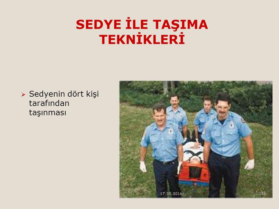SEDYE İLE TAŞIMA TEKNİKLERİ  Sedyenin dört kişi tarafından taşınması 17.09.2016136