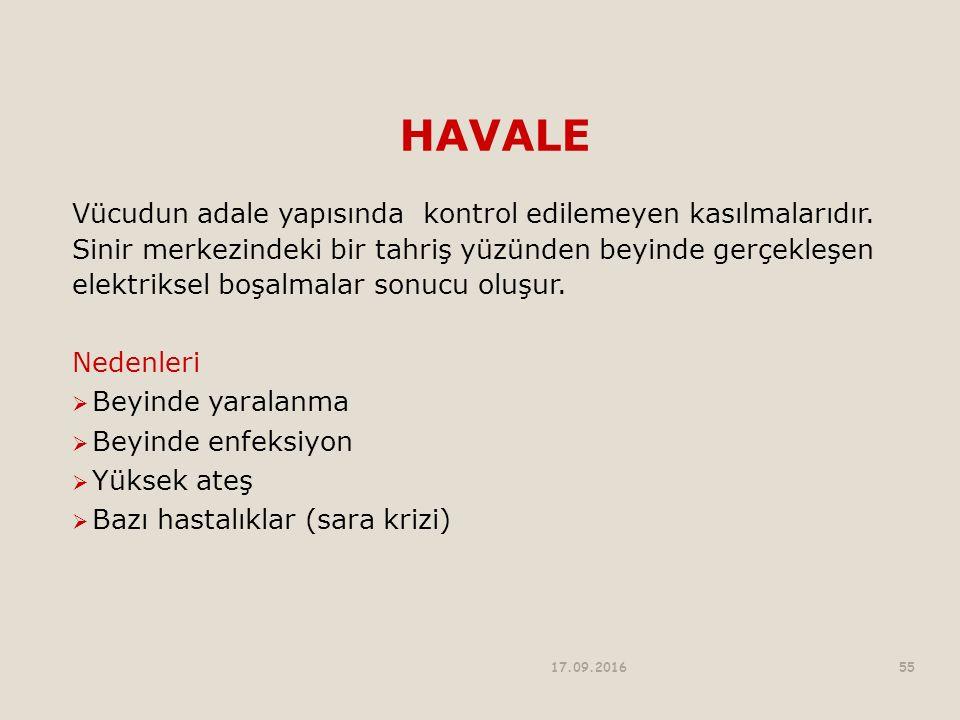 HAVALE Vücudun adale yapısında kontrol edilemeyen kasılmalarıdır.