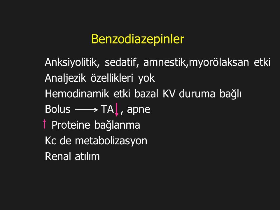 Benzodiazepinler Anksiyolitik, sedatif, amnestik,myorölaksan etki Analjezik özellikleri yok Hemodinamik etki bazal KV duruma bağlı Bolus TA, apne Prot