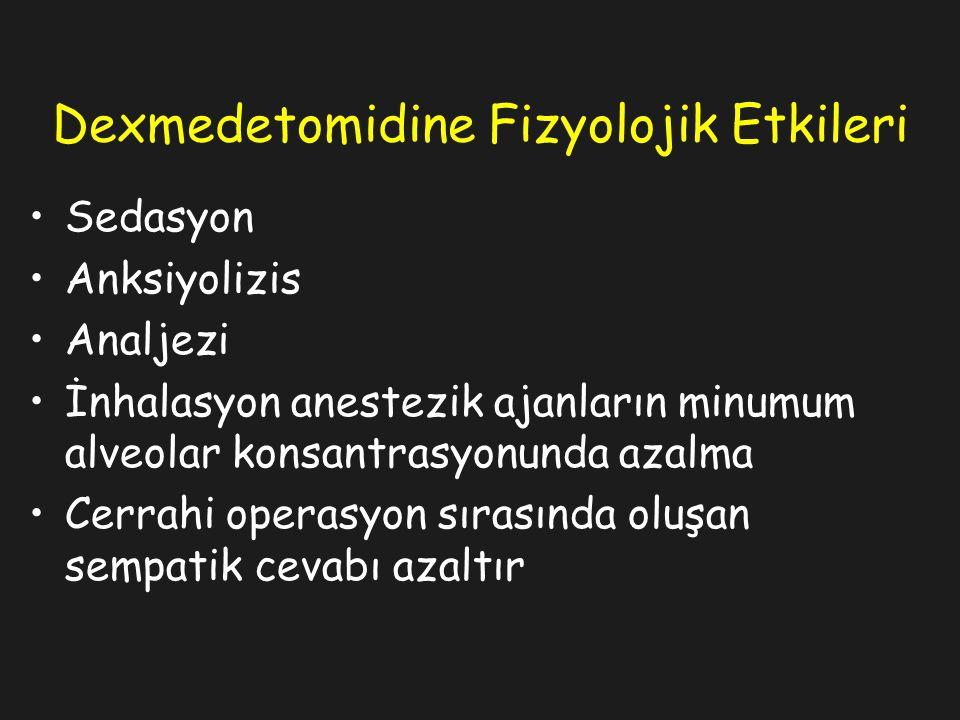 Dexmedetomidine Fizyolojik Etkileri Sedasyon Anksiyolizis Analjezi İnhalasyon anestezik ajanların minumum alveolar konsantrasyonunda azalma Cerrahi operasyon sırasında oluşan sempatik cevabı azaltır