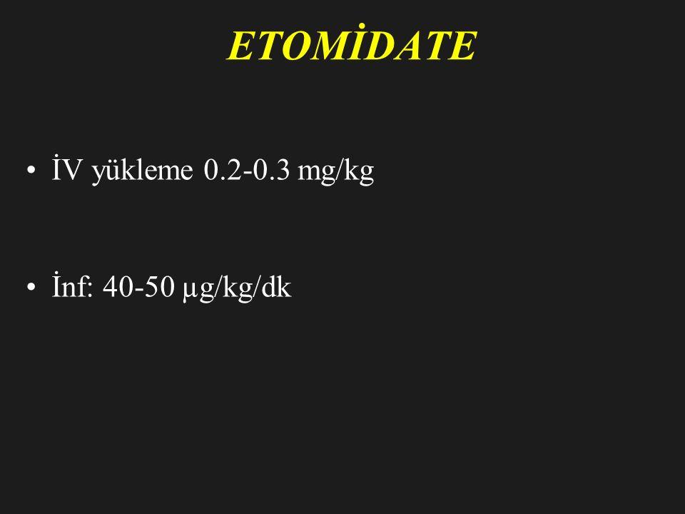 ETOMİDATE İV yükleme 0.2-0.3 mg/kg İnf: 40-50 µg/kg/dk
