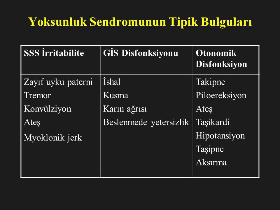 Yoksunluk Sendromunun Tipik Bulguları SSS İrritabiliteGİS DisfonksiyonuOtonomik Disfonksiyon Zayıf uyku paterni Tremor Konvülziyon Ateş Myoklonik jerk