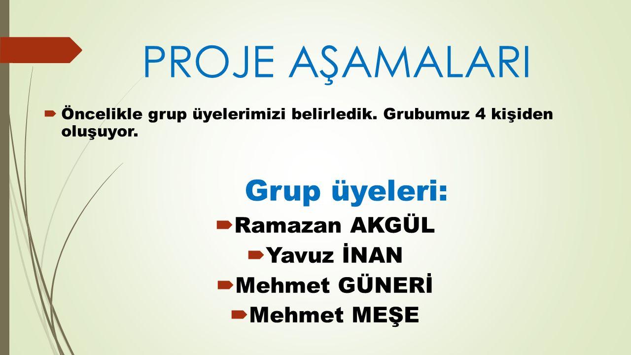  Ramazan AKGÜL arkadaşımız hocamıza mail atarak grup üyelerini bildirdi.