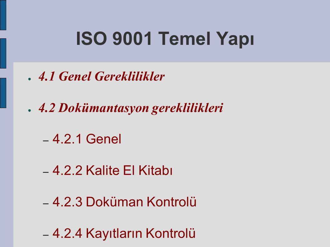ISO 9001 Temel Yapı ● 4.1 Genel Gereklilikler ● 4.2 Dokümantasyon gereklilikleri – 4.2.1 Genel – 4.2.2 Kalite El Kitabı – 4.2.3 Doküman Kontrolü – 4.2.4 Kayıtların Kontrolü