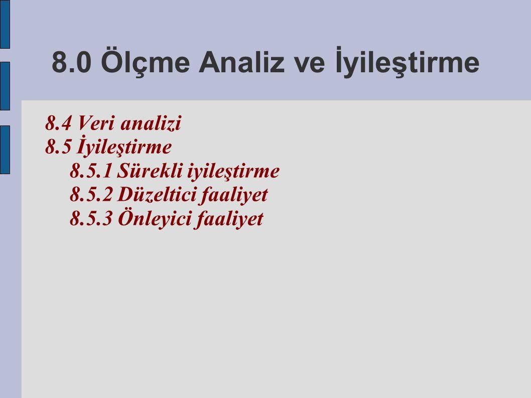 8.0 Ölçme Analiz ve İyileştirme 8.4 Veri analizi 8.5 İyileştirme 8.5.1 Sürekli iyileştirme 8.5.2 Düzeltici faaliyet 8.5.3 Önleyici faaliyet