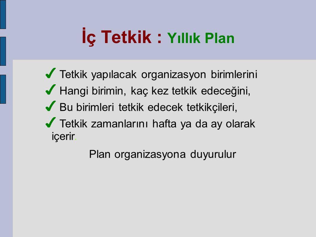 ✔ Tetkik yapılacak organizasyon birimlerini ✔ Hangi birimin, kaç kez tetkik edeceğini, ✔ Bu birimleri tetkik edecek tetkikçileri, ✔ Tetkik zamanlarını hafta ya da ay olarak içerir.