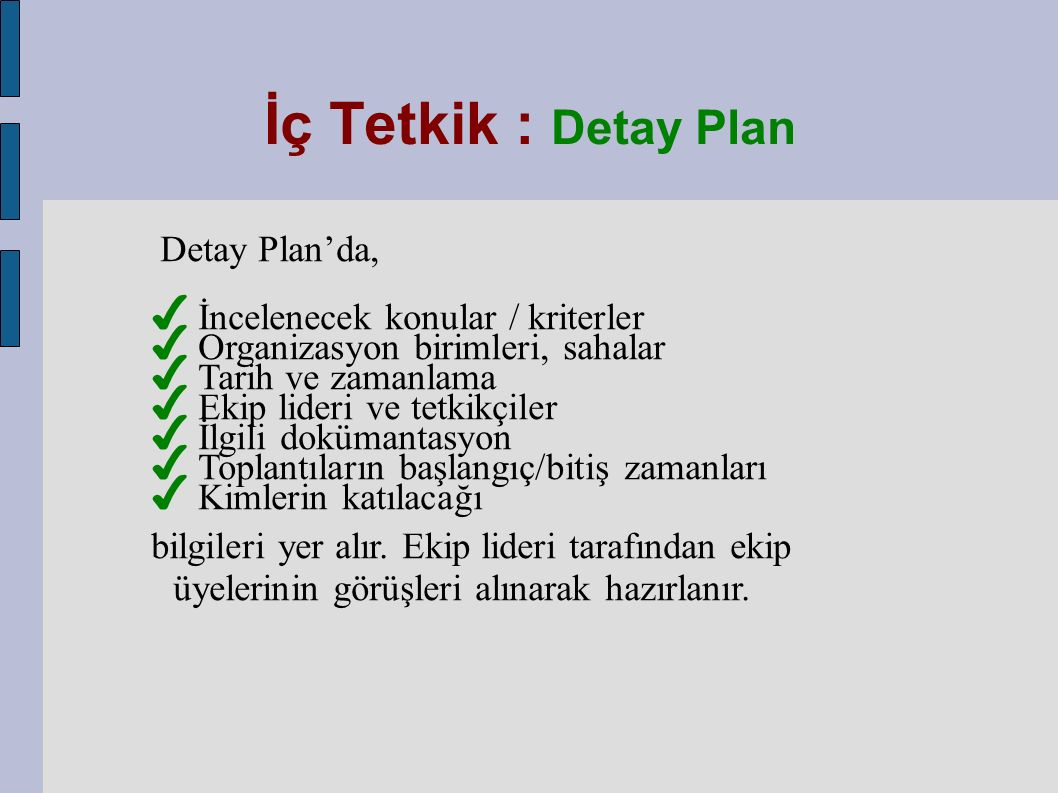 Detay Plan'da, ✔ İncelenecek konular / kriterler ✔ Organizasyon birimleri, sahalar ✔ Tarih ve zamanlama ✔ Ekip lideri ve tetkikçiler ✔ İlgili dokümantasyon ✔ Toplantıların başlangıç/bitiş zamanları ✔ Kimlerin katılacağı bilgileri yer alır.