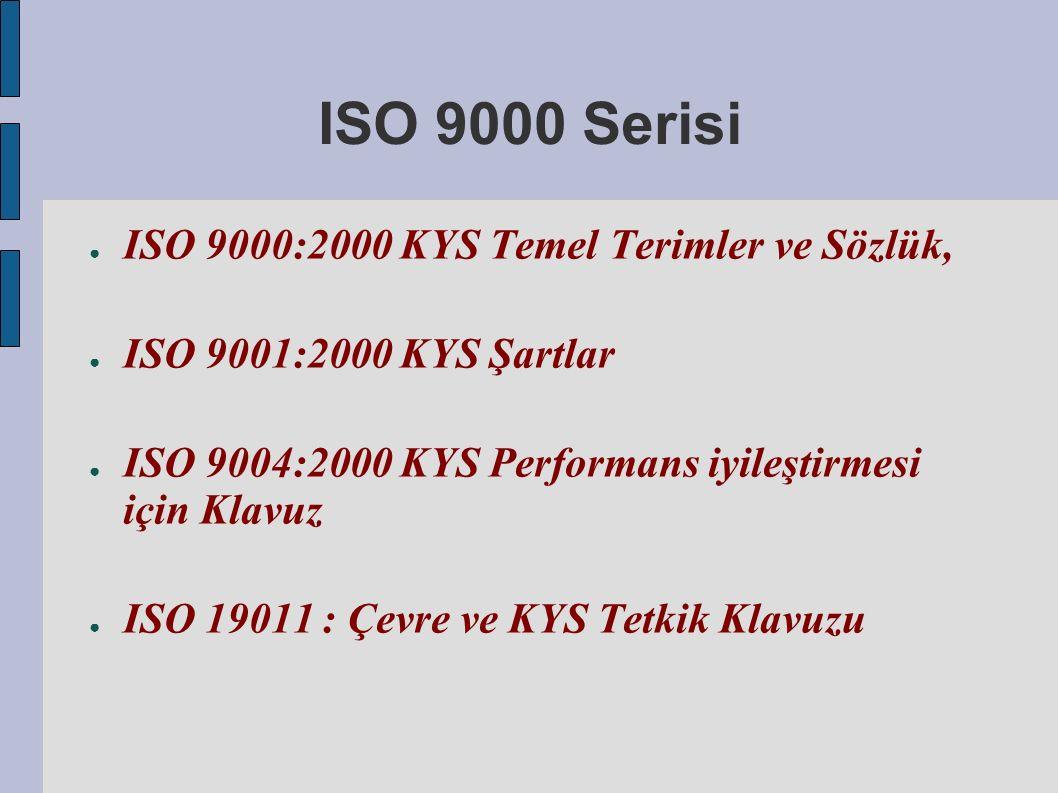 ISO 9000 Serisi ● ISO 9000:2000 KYS Temel Terimler ve Sözlük, ● ISO 9001:2000 KYS Şartlar ● ISO 9004:2000 KYS Performans iyileştirmesi için Klavuz ● ISO 19011 : Çevre ve KYS Tetkik Klavuzu
