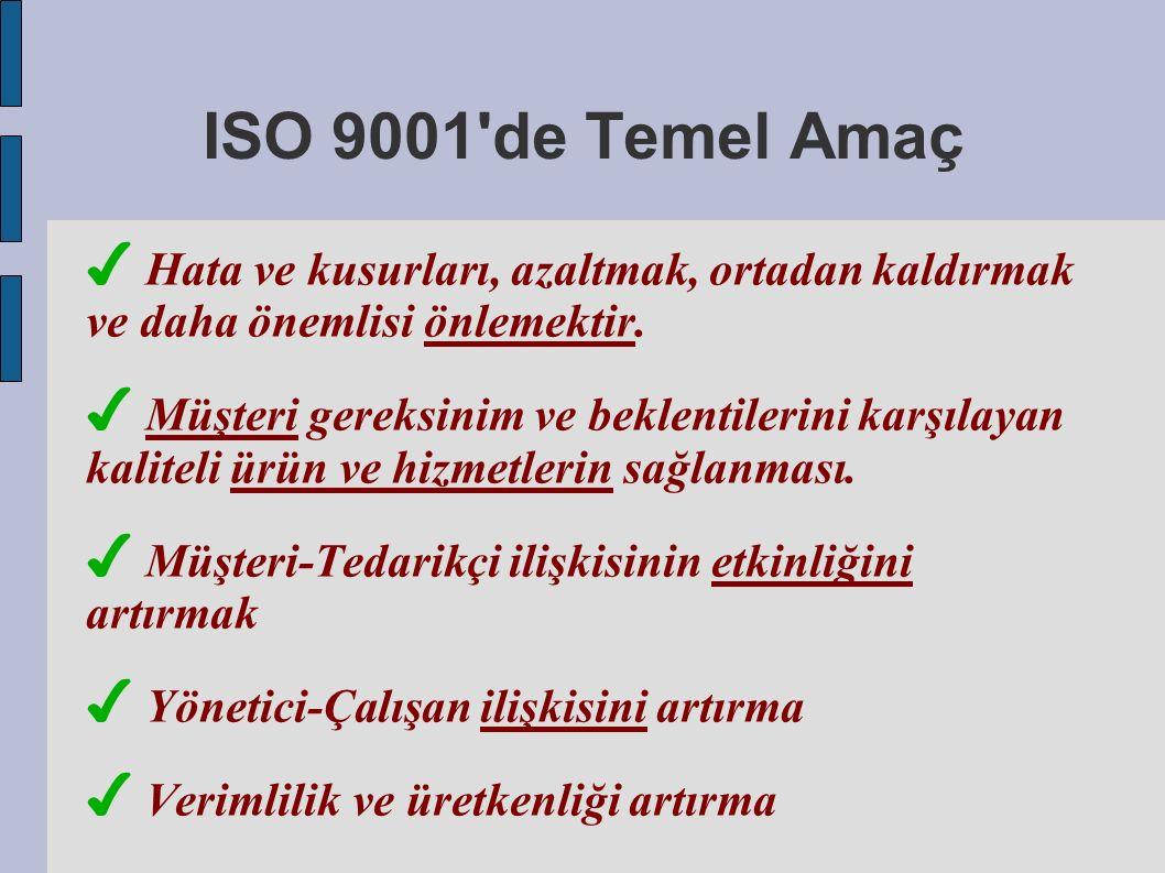 ISO 9001 de Temel Amaç ✔ Hata ve kusurları, azaltmak, ortadan kaldırmak ve daha önemlisi önlemektir.