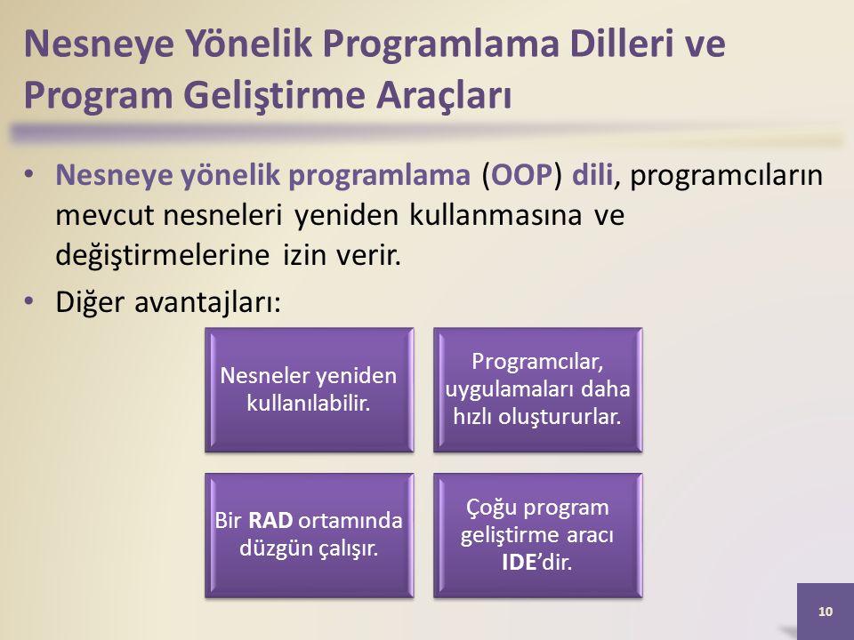 Nesneye Yönelik Programlama Dilleri ve Program Geliştirme Araçları Nesneye yönelik programlama (OOP) dili, programcıların mevcut nesneleri yeniden kullanmasına ve değiştirmelerine izin verir.