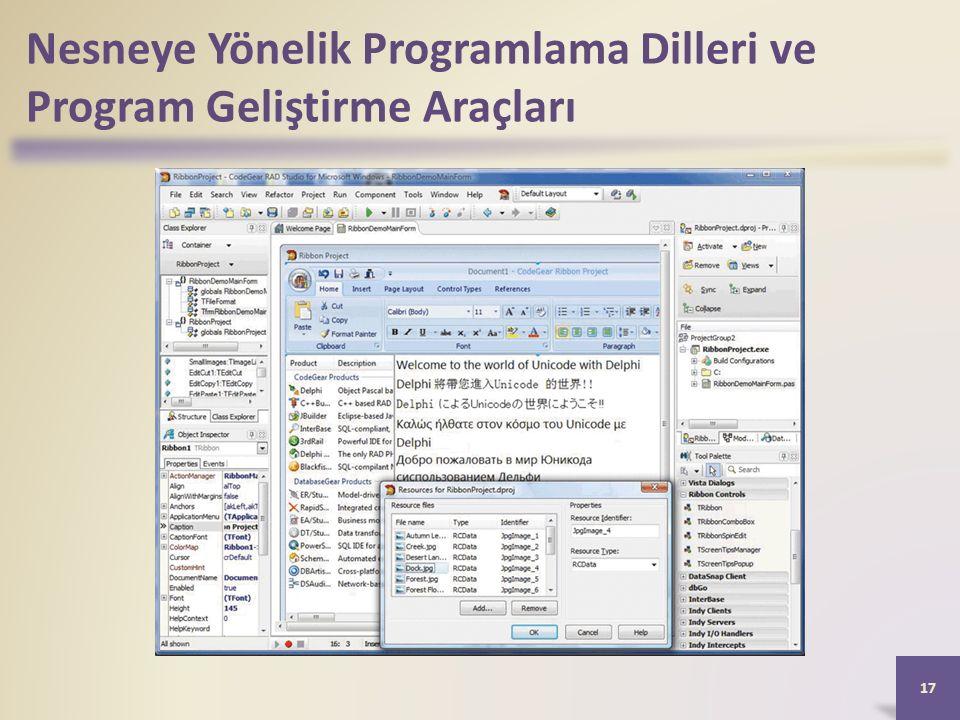 Nesneye Yönelik Programlama Dilleri ve Program Geliştirme Araçları 17