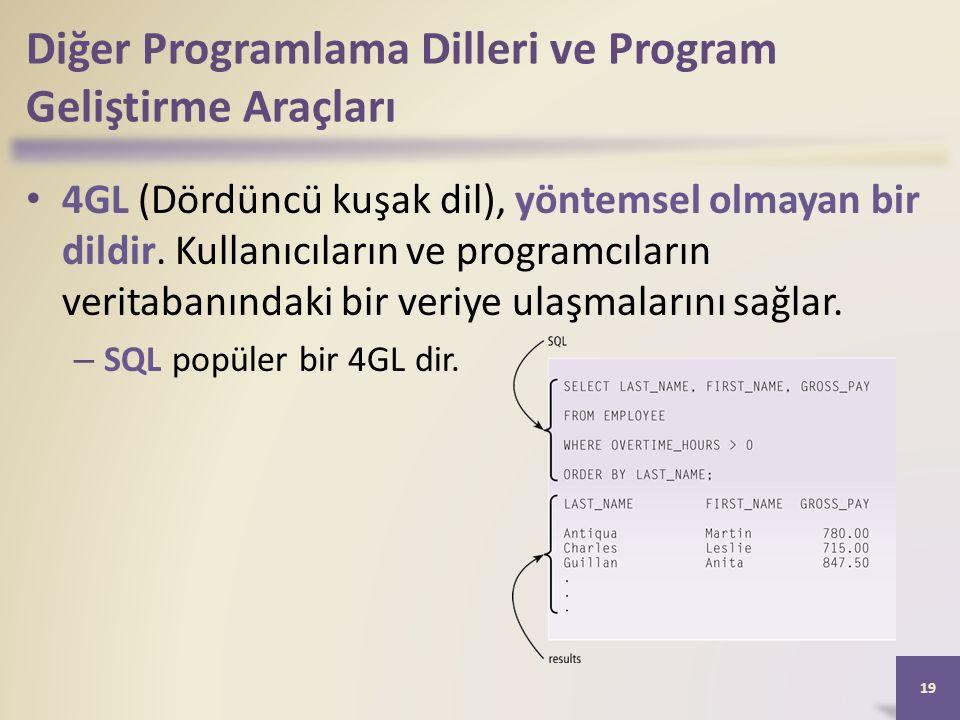Diğer Programlama Dilleri ve Program Geliştirme Araçları 4GL (Dördüncü kuşak dil), yöntemsel olmayan bir dildir.