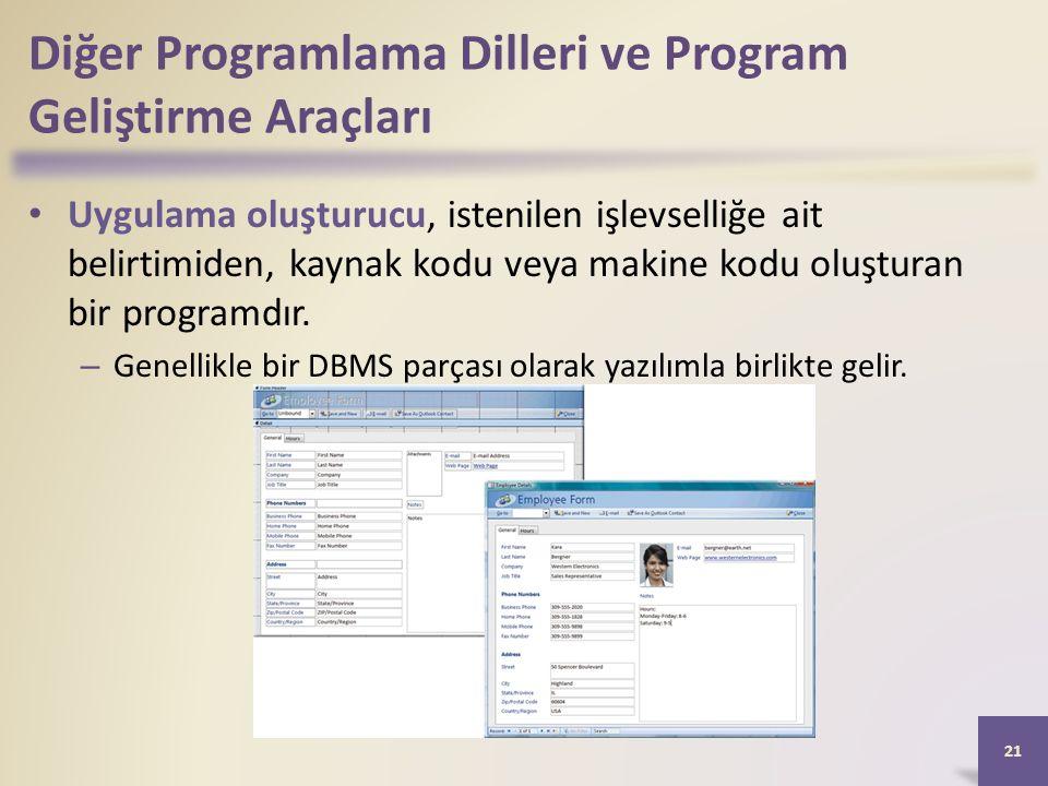 Diğer Programlama Dilleri ve Program Geliştirme Araçları Uygulama oluşturucu, istenilen işlevselliğe ait belirtimiden, kaynak kodu veya makine kodu oluşturan bir programdır.