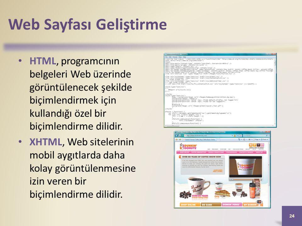 Web Sayfası Geliştirme HTML, programcının belgeleri Web üzerinde görüntülenecek şekilde biçimlendirmek için kullandığı özel bir biçimlendirme dilidir.