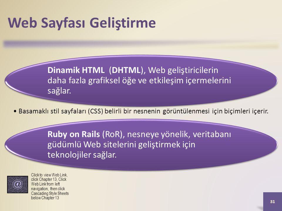 Web Sayfası Geliştirme Dinamik HTML (DHTML), Web geliştiricilerin daha fazla grafiksel öğe ve etkileşim içermelerini sağlar.