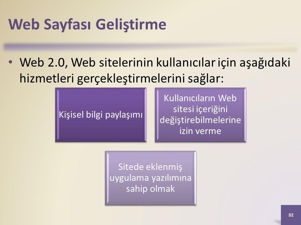 Web Sayfası Geliştirme Web 2.0, Web sitelerinin kullanıcılar için aşağıdaki hizmetleri gerçekleştirmelerini sağlar: 32 Kişisel bilgi paylaşımı Kullanıcıların Web sitesi içeriğini değiştirebilmelerine izin verme Sitede eklenmiş uygulama yazılımına sahip olmak