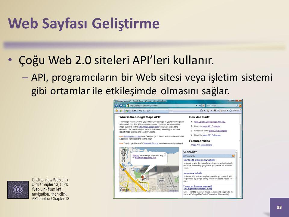 Web Sayfası Geliştirme Çoğu Web 2.0 siteleri API'leri kullanır.