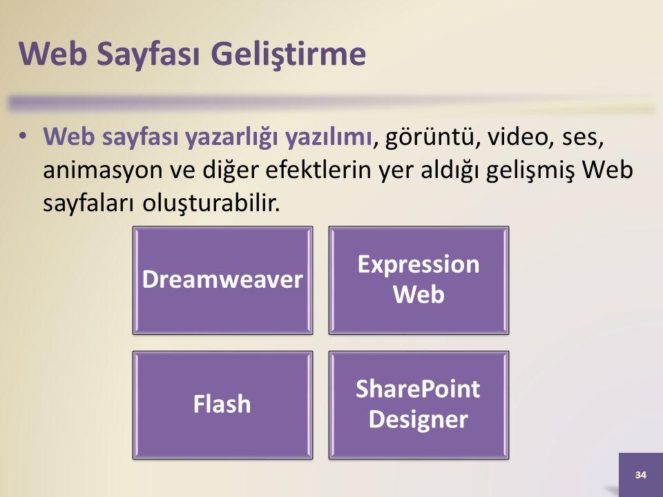 Web Sayfası Geliştirme Web sayfası yazarlığı yazılımı, görüntü, video, ses, animasyon ve diğer efektlerin yer aldığı gelişmiş Web sayfaları oluşturabilir.
