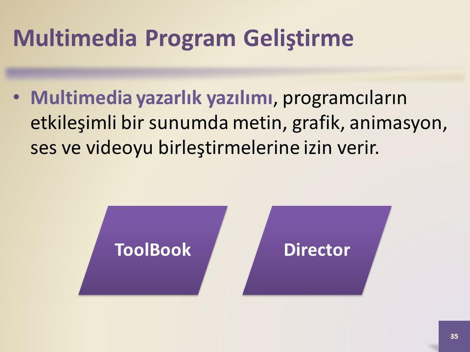 Multimedia Program Geliştirme Multimedia yazarlık yazılımı, programcıların etkileşimli bir sunumda metin, grafik, animasyon, ses ve videoyu birleştirmelerine izin verir.