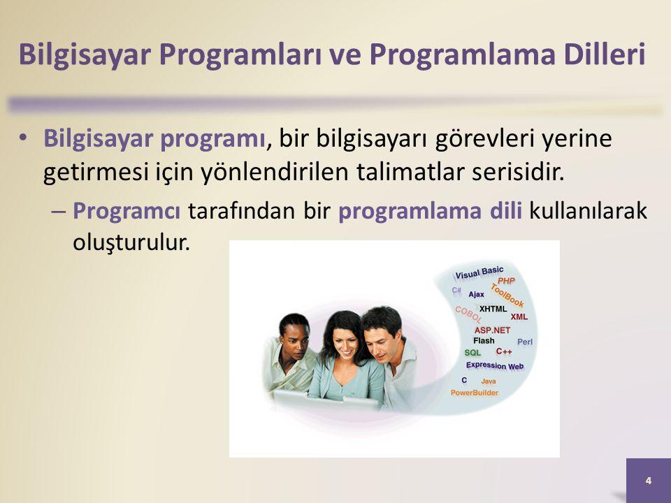 Bilgisayar Programları ve Programlama Dilleri Bilgisayar programı, bir bilgisayarı görevleri yerine getirmesi için yönlendirilen talimatlar serisidir.