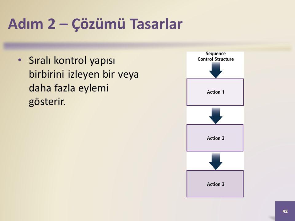 Adım 2 – Çözümü Tasarlar Sıralı kontrol yapısı birbirini izleyen bir veya daha fazla eylemi gösterir.