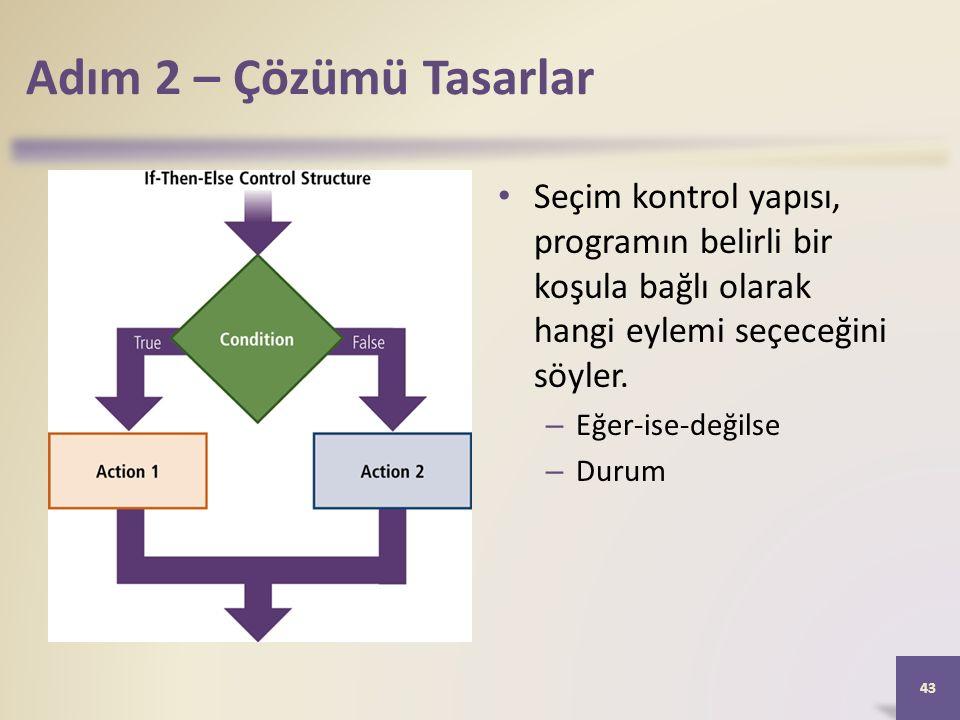 Adım 2 – Çözümü Tasarlar Seçim kontrol yapısı, programın belirli bir koşula bağlı olarak hangi eylemi seçeceğini söyler.