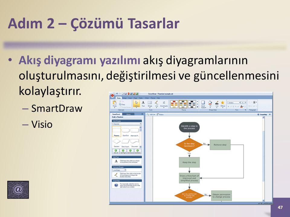 Adım 2 – Çözümü Tasarlar Akış diyagramı yazılımı akış diyagramlarının oluşturulmasını, değiştirilmesi ve güncellenmesini kolaylaştırır.