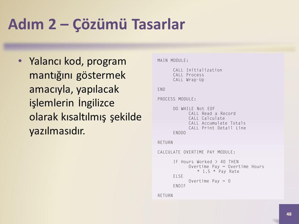 Adım 2 – Çözümü Tasarlar Yalancı kod, program mantığını göstermek amacıyla, yapılacak işlemlerin İngilizce olarak kısaltılmış şekilde yazılmasıdır.