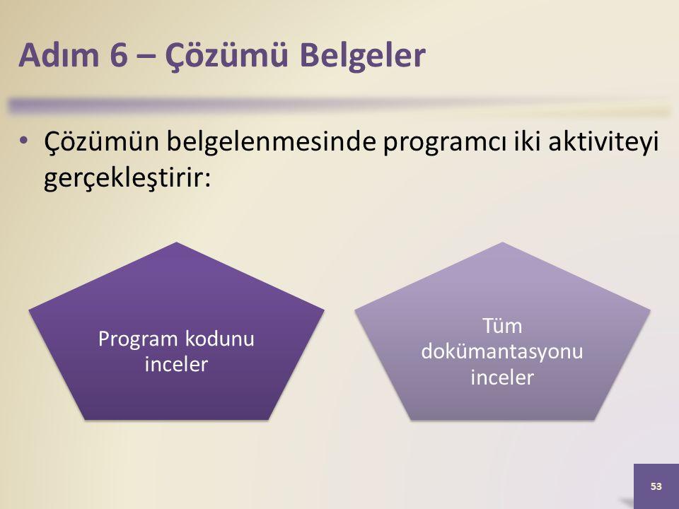 Adım 6 – Çözümü Belgeler Çözümün belgelenmesinde programcı iki aktiviteyi gerçekleştirir: 53 Program kodunu inceler Tüm dokümantasyonu inceler