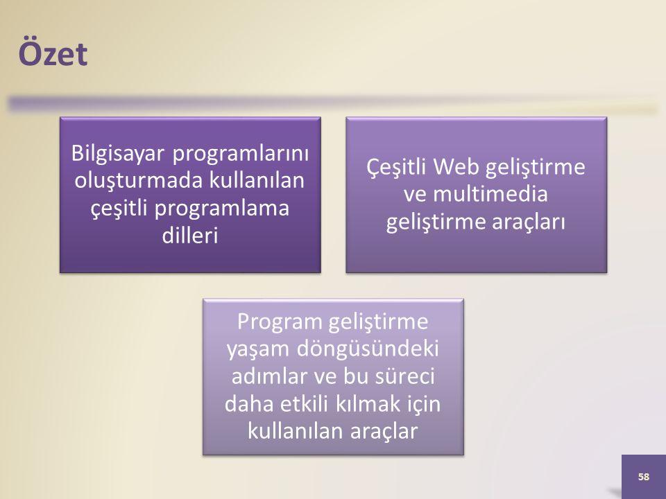 Özet Bilgisayar programlarını oluşturmada kullanılan çeşitli programlama dilleri Çeşitli Web geliştirme ve multimedia geliştirme araçları Program geliştirme yaşam döngüsündeki adımlar ve bu süreci daha etkili kılmak için kullanılan araçlar 58