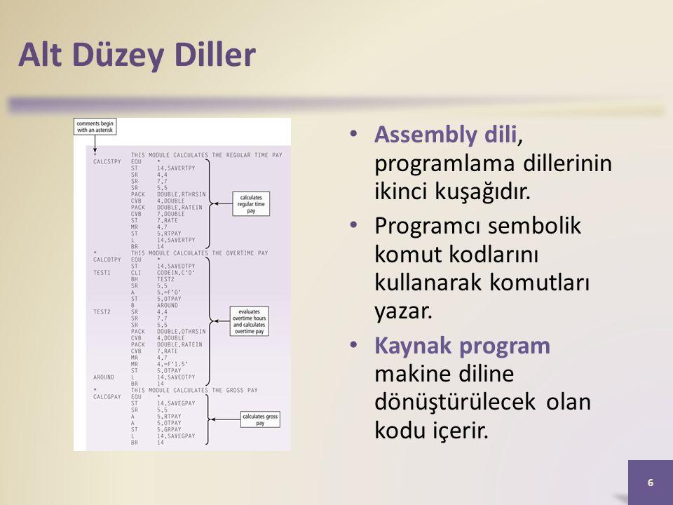 Alt Düzey Diller Assembly dili, programlama dillerinin ikinci kuşağıdır.