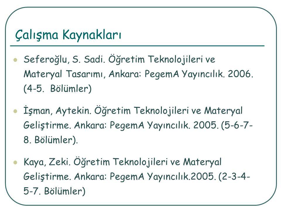 Çalışma Kaynakları Seferoğlu, S. Sadi.