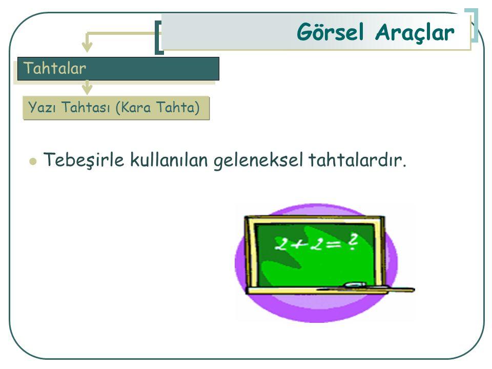 Tahtalar Görsel Araçlar Yazı Tahtası (Kara Tahta) Tebeşirle kullanılan geleneksel tahtalardır.