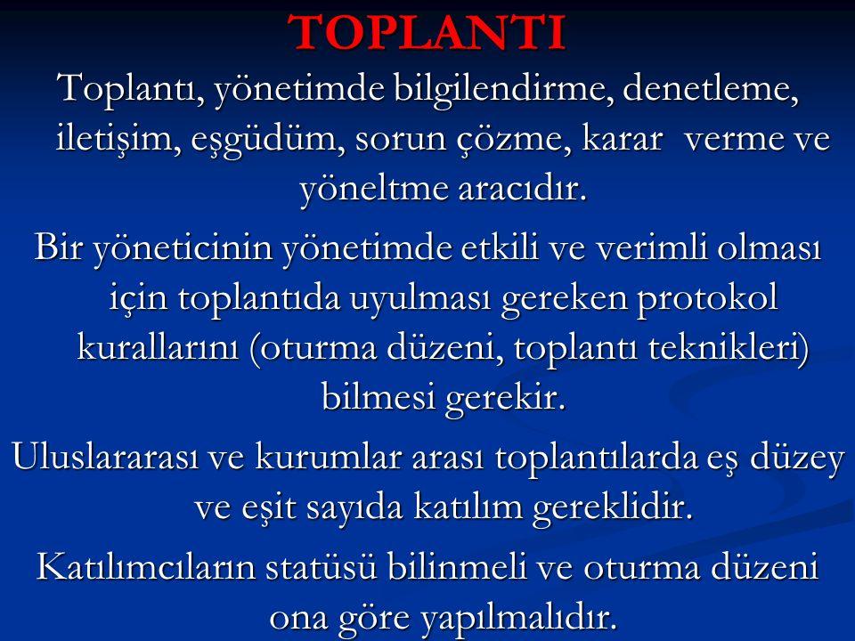 TOPLANTI Toplantı, yönetimde bilgilendirme, denetleme, iletişim, eşgüdüm, sorun çözme, karar verme ve yöneltme aracıdır. Bir yöneticinin yönetimde etk